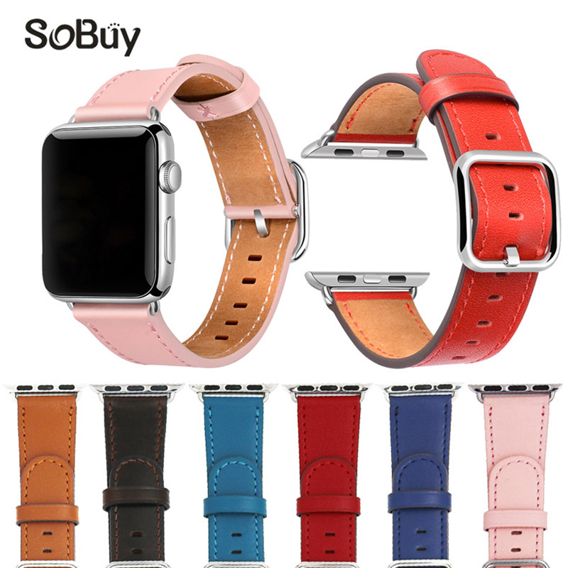 IDG leather strap for apple watch 42mm 38mm strap band Classic belt bracelet band for iwatch 1/2/3 series Genuine Cowhide bands цена и фото