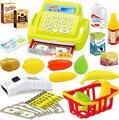 26 pçs/set brinquedo educativo bebê Pretend Play supermercado caixa registradora brinquedo crianças brinquedos clássicos