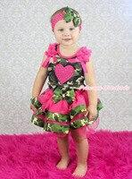 Valentine camuflagem Top de cetim rosa guarnição menina roupa Pettiskirt nb-8a MAPSA0745