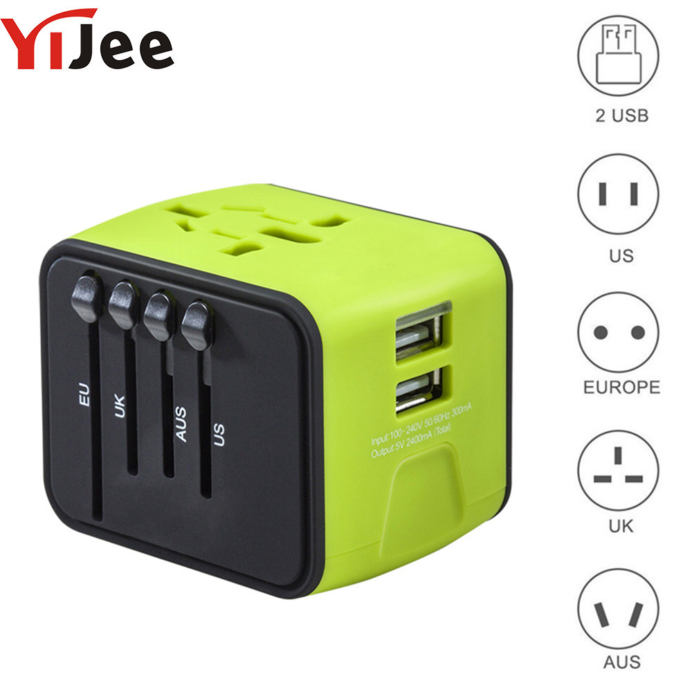 YiJee International Plug Universal Travel Adapter Electric Plugs Sockets Dual USB Wall Charger for US/UK/EU/AU LED Indicator