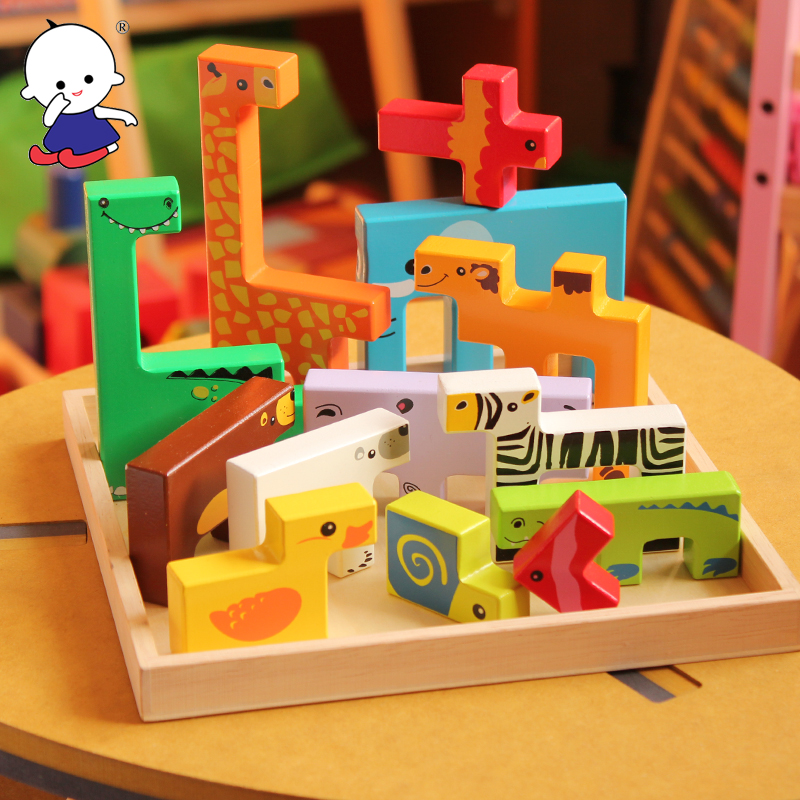 3D Baby wood puzzle child animal pattern wooden intelligence toy children creative Tetris birthday gift shape match game board