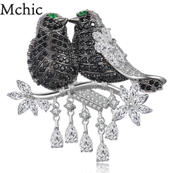 Mchic AAA+ Luxury Cubic Zirconia Magpie Lover Bird Pendant Brooch Pin  Animals Broche Corsage For Female Exquisite Top Grade Gift