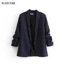 Women Chic Striped Jacket Blazer Side Pockets Pleat Long Sleeve Open Stitch Coat Female Work Office Lady Casual Tops Outwear fashion camel open front side pockets longline coat