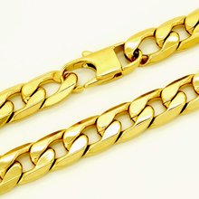 ФОТО masculine choker stainless steel gold color necklace 12mm 20''-36'' inches men women fashion jewelry curb cuban chain