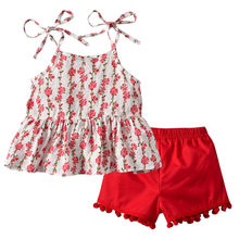 Pudcoco Kid Baby Girl Summer Clothing Set Flowers Strap T-shirt Top+Red Tassel Shorts 2PCS Children Boutique Clothes
