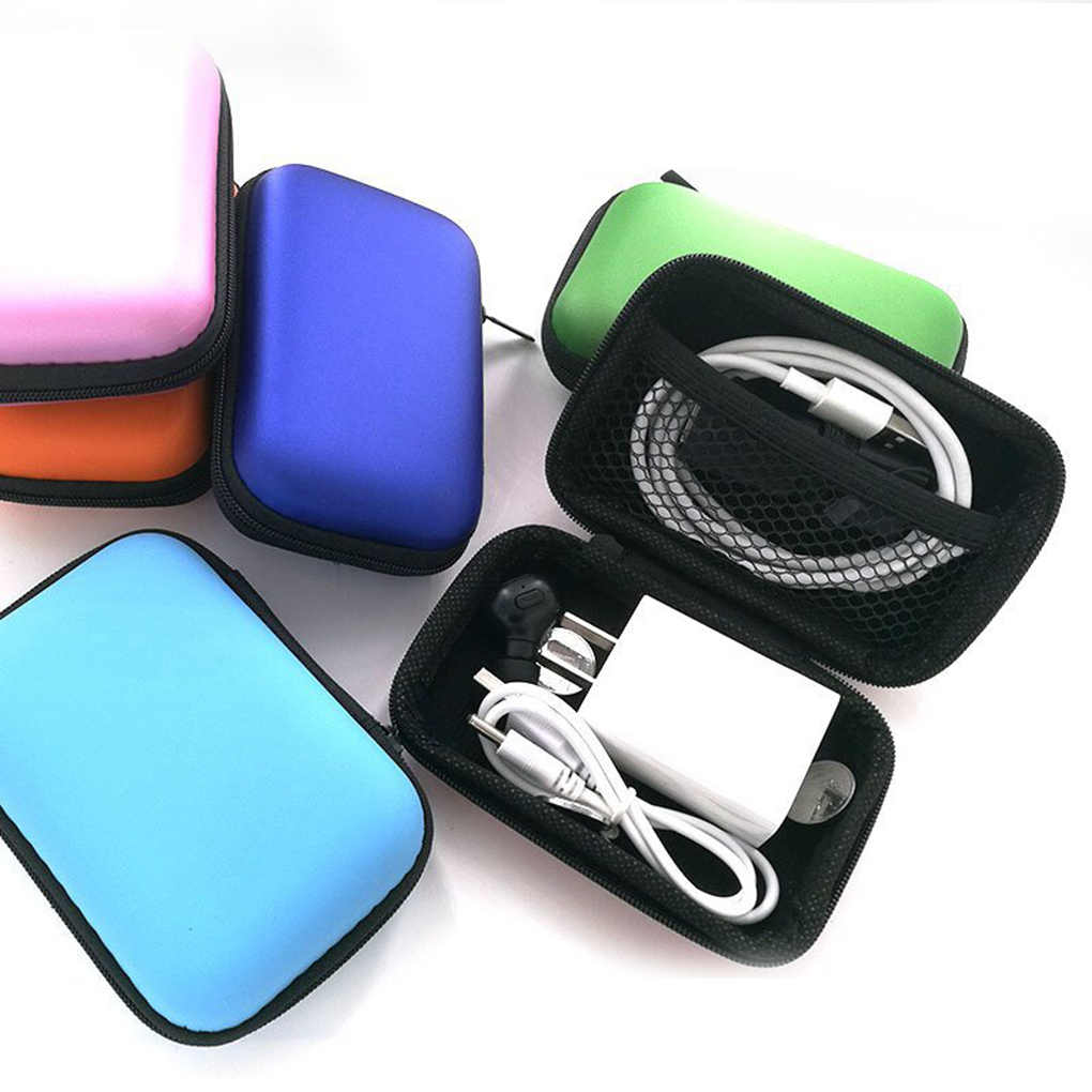 Headphone Kabel Data Penyimpanan Case Charger Power Bank Persegi Panjang Kotak EVA Ritsleting Tas Kantong Saku