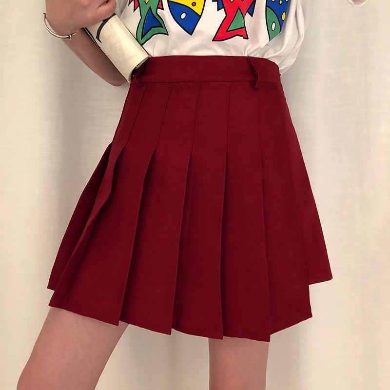 3 สี S-L 2019 ฤดูร้อนสูงเอวกางเกงขาสั้นกระโปรงสตรีเกาหลี preppy สไตล์สาวสีทึบกางเกงขาสั้นสตรี (x252)