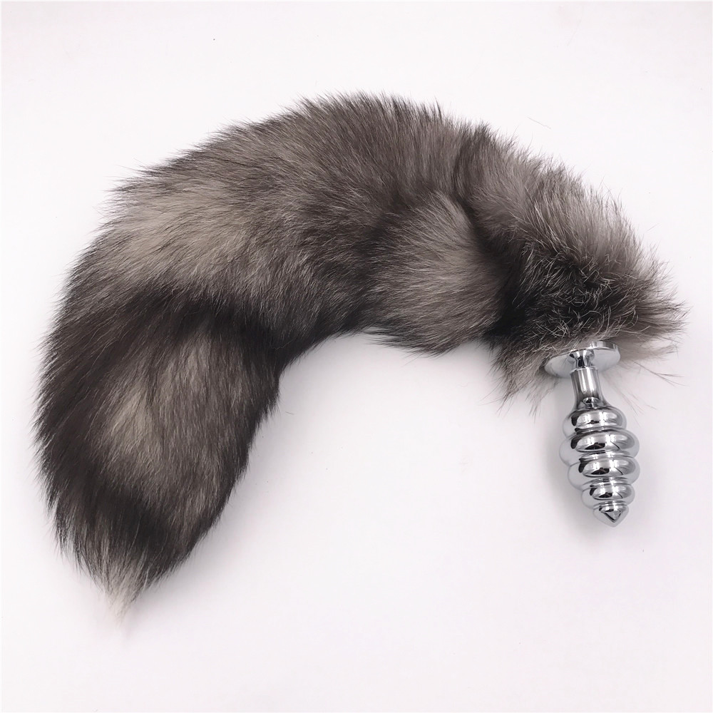 Larger 50cm Black Gray Fox Tail Fluffy Anal Plug Sex Toys Erotic Butt Plug Sex Products Toy for Woman And Men Adult Games 1 pcs metal anal toys fox tail anal plug erotic toys butt plug sex toys for woman and men sexy butt plug adult sex toy