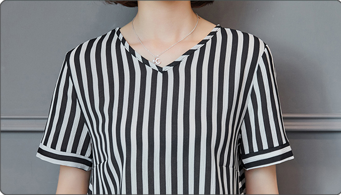 Plus Size Summer Striped Two Pieces Sets Women Short Sleeve Tops And Cropped Pants Suits Sets Casual Korean Women's Costume 2019 29