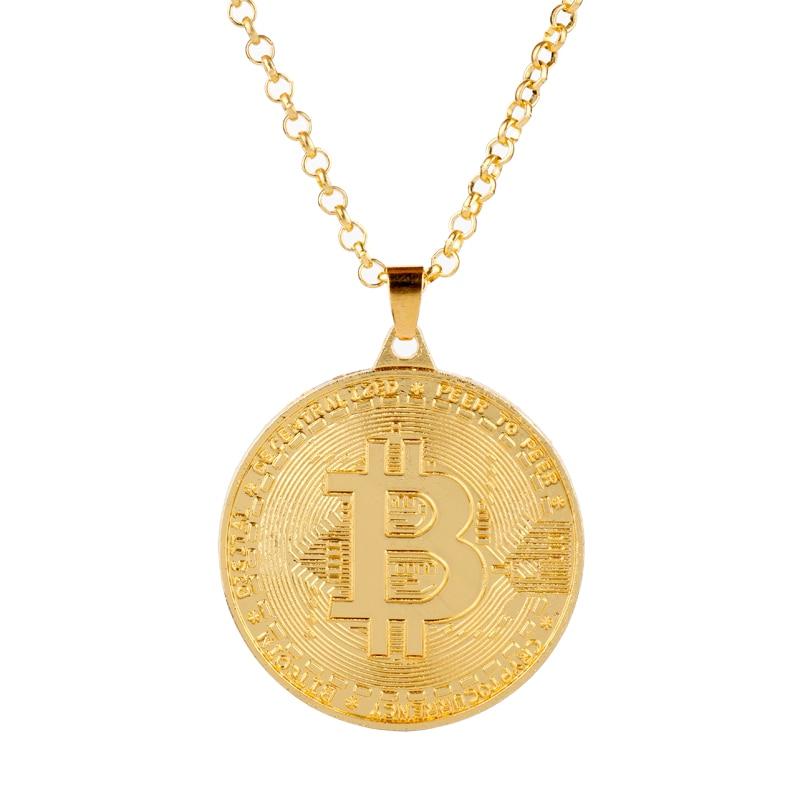 Ожерелье Биткоин для монет золотого цвета, Коллекционная Коллекция ювелирных изделий, подарок, физический памятный Casascius бит BTC подвеска