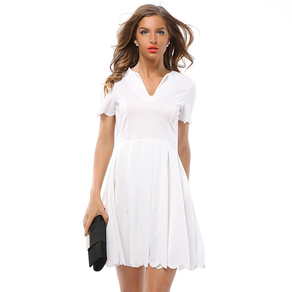 summer natural V-neck short sleeve pleated Petals wave edge shirt dress for sexy ladies