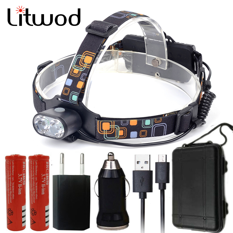 Litwod Z207314 Super Bright Micro USB Headlamp Headlight 2pcs XML T6Head flashlight Torch Rechargeable 18650 battery & charger r3 2led super bright mini headlamp headlight flashlight torch lamp 4 models