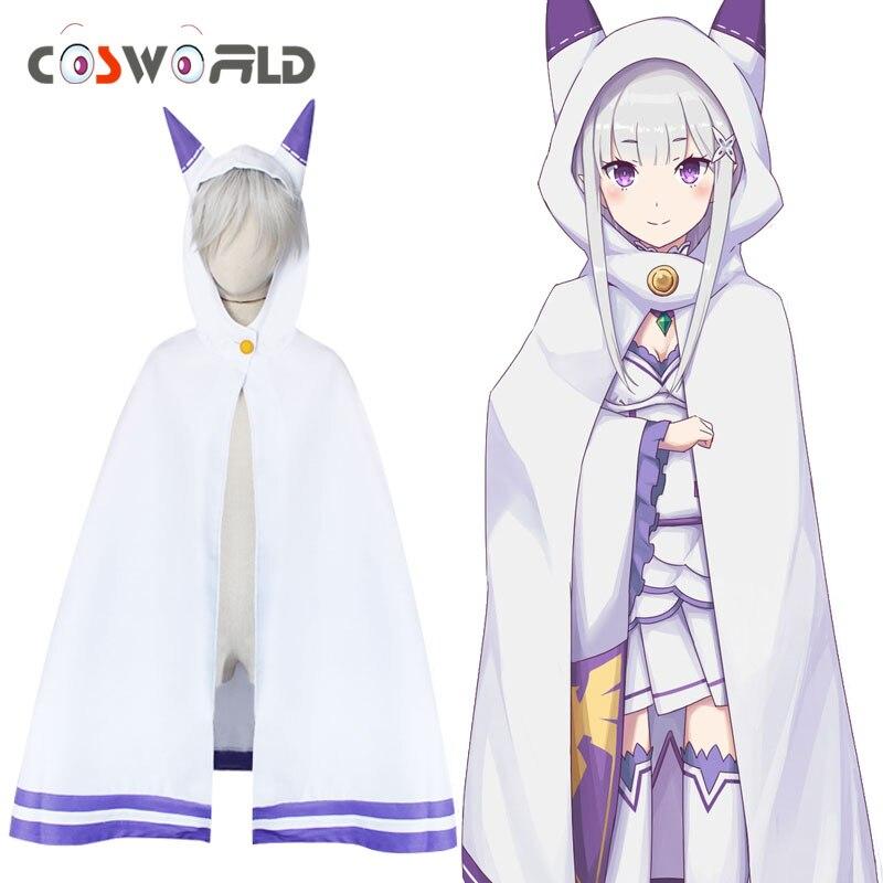 Coshome Re Zero Kara Hajimeru Isekai Seikatsu Emilia Cloaks Coat Girls  Jacket Cosplay Party Costumes Women White Cute Cape