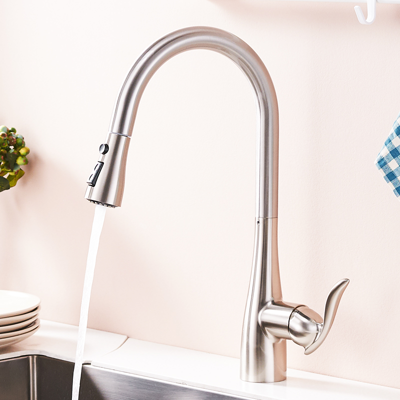FLG Kitchen Faucet 360 Rotate Swivel Pull Out Spray Brass Nickel Brushed Kitchen Sink Faucet Single Lever Vanity Mixer Taps 792 in Kitchen Faucets from Home Improvement