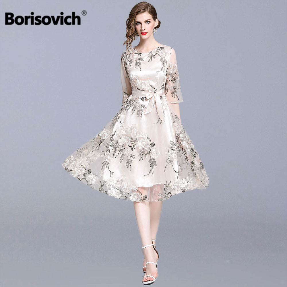 Borisovich Women Summer Casual Dresses New 2019 Fashion Floral Embroidery Knee-length A-line Ladies Elegant Party Dresses N1078