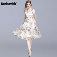 Borisovich Women Summer Casual Dresses New 2019 Fashion Floral Embroidery Knee length A line Ladies Elegant Party Dresses N1078