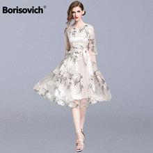 Borisovich Women Summer Casual Dresses New 2019 Fashion Floral Embroidery Knee-l