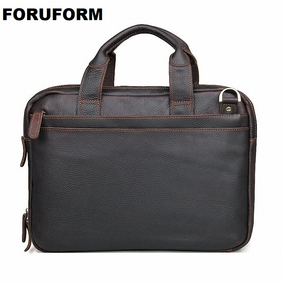 2018 Vintage Genuine Leather Laptop Bag Business Handbags Cowhide Men Crossbody Bag Men's Travel Real Leather Briefcase LI-2164
