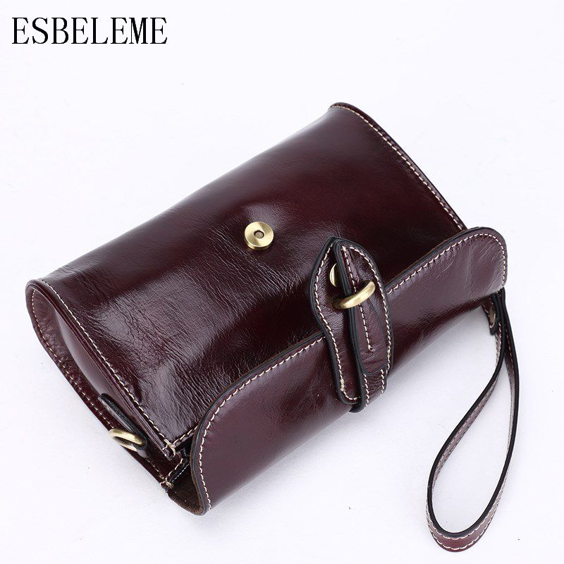 Luxury Genuine Leather Women Single Shoulder Bags for Ladies Burgundy Black Cover Hand Bags Female Cow