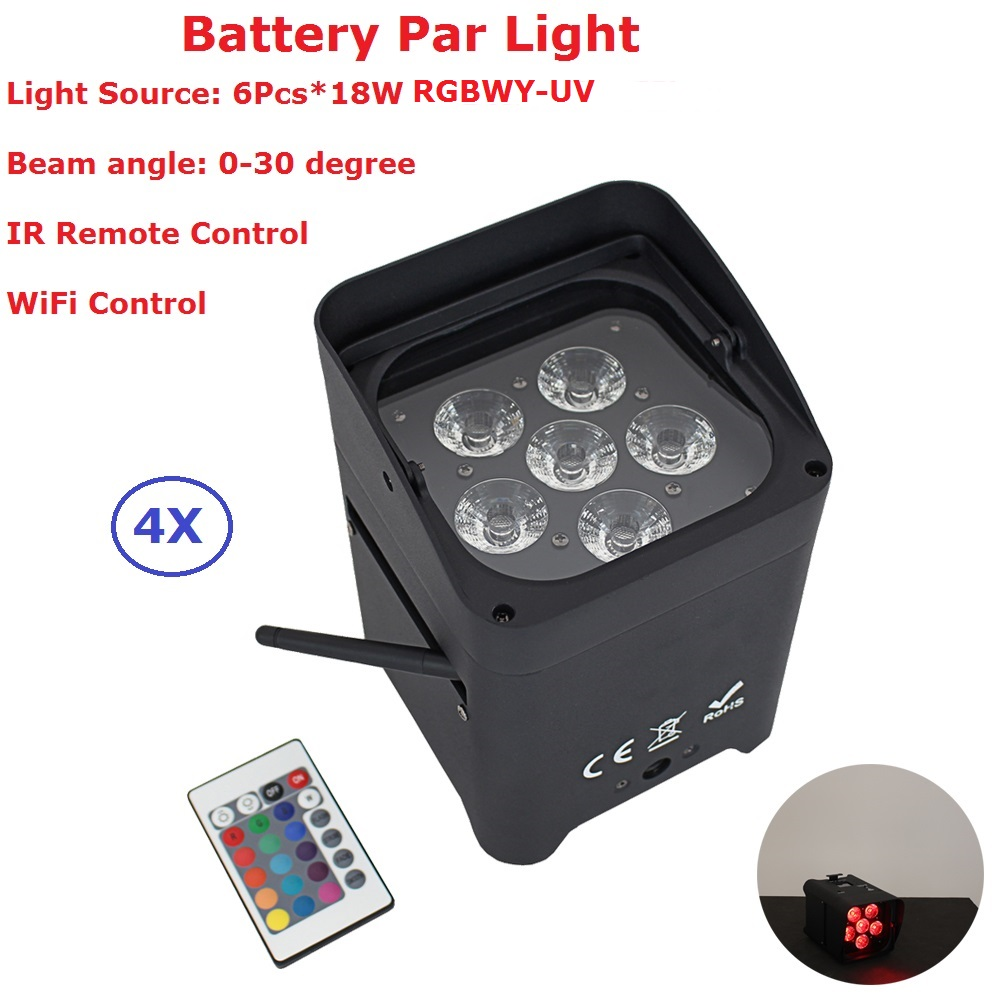 4Pcs/Lot 6X18W DMX Wireless Battery Powered LED Par Light RGBWY-UV 6IN1 Color Led Wash Light DJ Lights Uplights WIFI Control professional 8x led par 6 18w leds smart dj s4 battery powered wireless dmx wedding uplight light rgbwa uv 6in1 party up lights