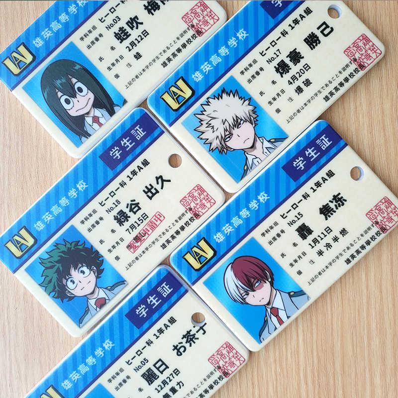 Аниме Мой герой Academy Boku no Hero Akademia Bakugou Katsuki Asui Tsuyu OCHACO URARAKA держатель студенческих карт косплей брелок Gif