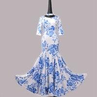 Синий и белый фарфор Бальные платья вальс Бальные Стандартный платье бахрома бальных танцев платье фламенко Одежда для танцев tango платье