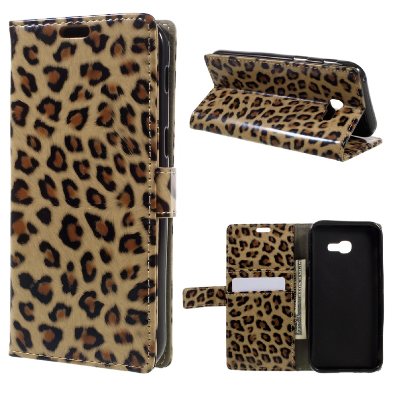 For Samsung A3 2017 Leopard Pattern Wallet PU Leather Mobile Phone Case for Samsung Galaxy A3 2017