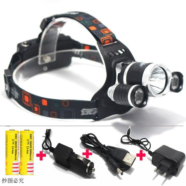 BERUIT RJ3000 Headlamps 6000LM  XML T6+2R5 3*LED Headlight,Head Lamp Light Flashlight+18650 battery+Car EU/US/AU/UK Charger