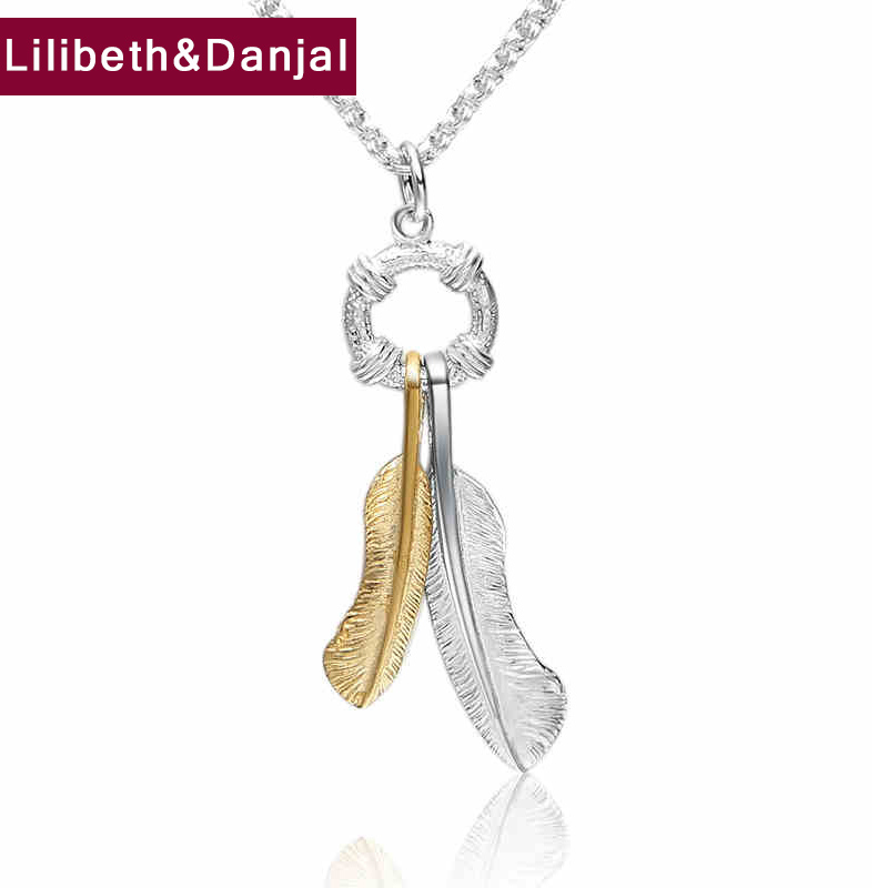 Brand Creative Feather Charm Pendant 100% Real 925 Sterling silver GIFT Necklace Pendant fine Jewelry 2018 New Arrival FP63