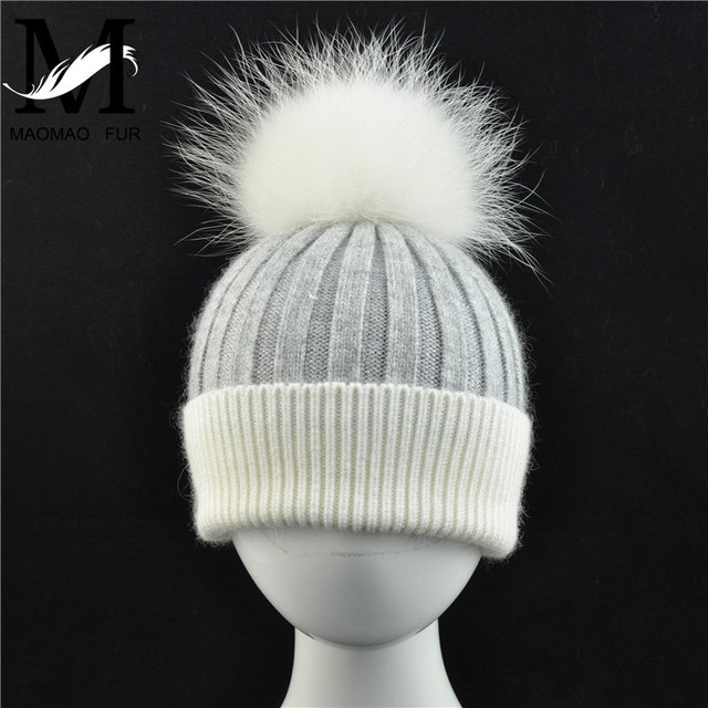 d4c08817e05 Kids Winter Real Fur Hat Children Knitted Cap Real Big Fur Pom Pom Hat Wool  Beanies