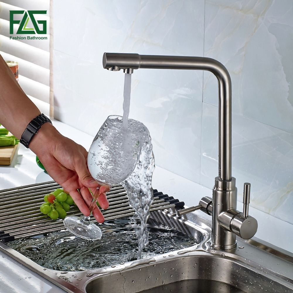 3 Way Tap 304 Stainless Steel Drinking Water Faucet Water Filter Purifier Kitchen Faucets For Sinks Mutfak Musluk Taps 175-33S