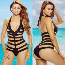 Women Bandage Swimsuit Cut Out One Piece Hollow Padded Monokini Swimwear Solid Bathing