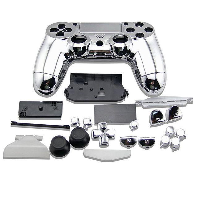כסף מלא סט שיכון מעטפת כפתורי כיסוי ציפוי מקרה עבור פלייסטיישן 4 DualShock 4 אלחוטי Gamepad PS4 V1 ישן בקר