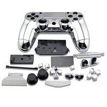 Boîtier complet argenté coque boutons housse placage étui pour PlayStation 4 DualShock 4 manette sans fil PS4 V1 vieux contrôleur