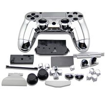 Silver Full Set Housing Shell buttons Cover Plating Case For PlayStation 4 DualShock 4 Wireless Gamepad PS4 V1 Old Controller