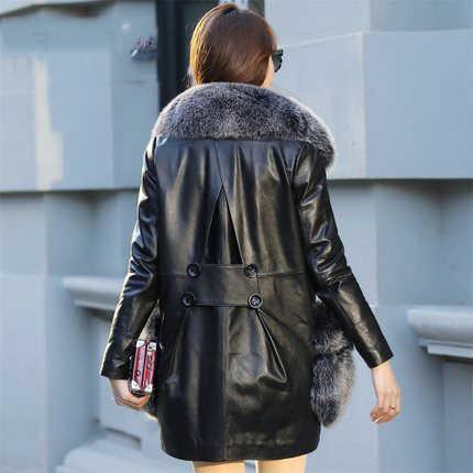AYUNSUE роскошный большой натуральный Лисий Мех Натуральная кожа куртка для женщин супер теплый утиный пух Длинные пальто jaqueta feminina размера плюс