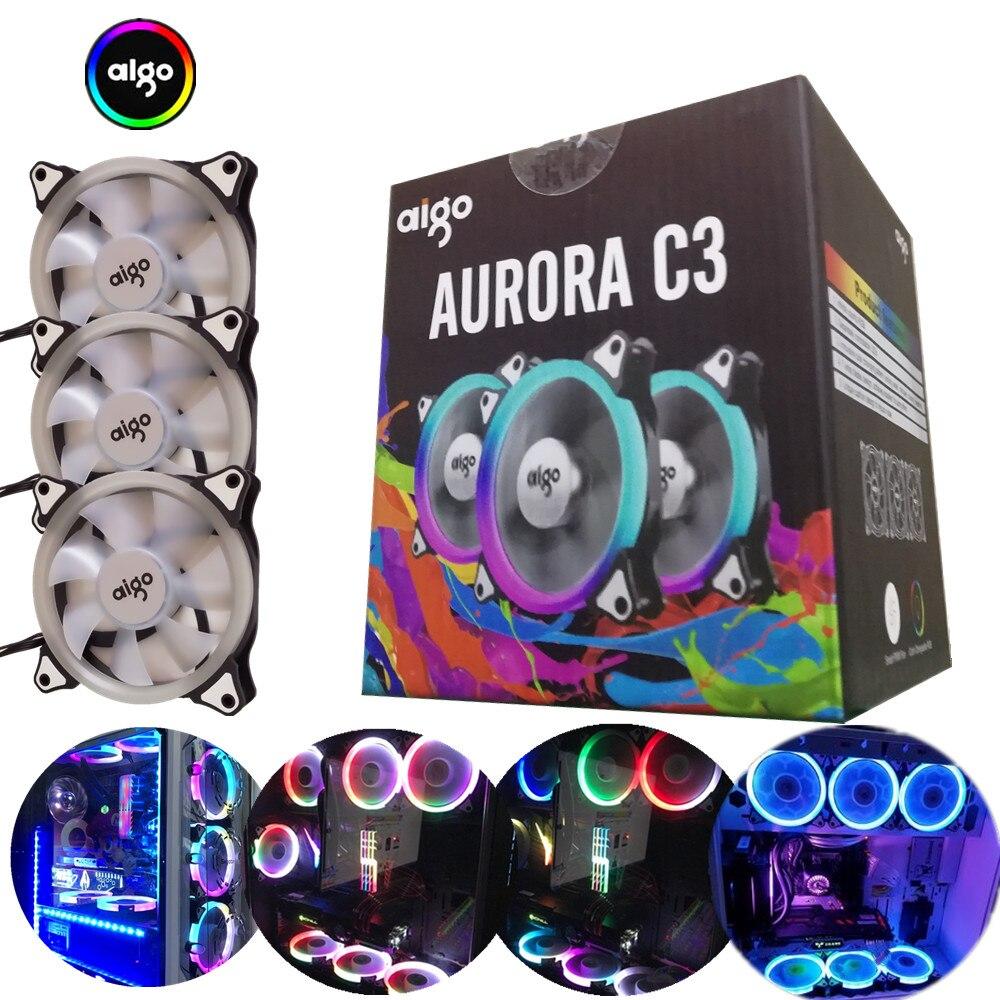 Aigo aurora c3 120mm arc-en-lumières coloré rgb réglable couleur ventilateur led pc ordinateur de refroidissement refroidisseur silencieux ventilateur de boîtier contrôleur