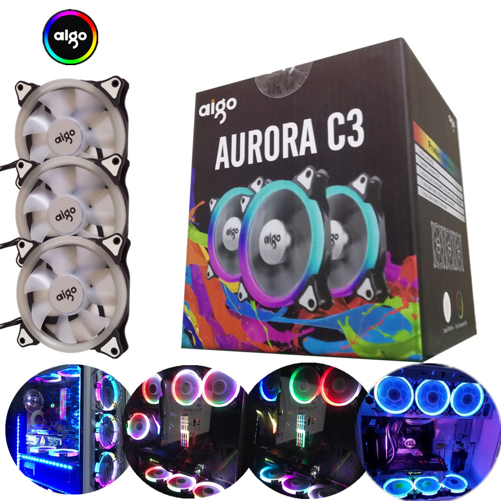 Aigo aurora c3 120mm rainbow lights colorful rgb adjustable colour fan led pc computer cooling cooler silent case fan controller 80 80 25 mm personal computer case cooling fan dc 12v 2200rpm 45cm fan cable pc case cooler fans computer fans