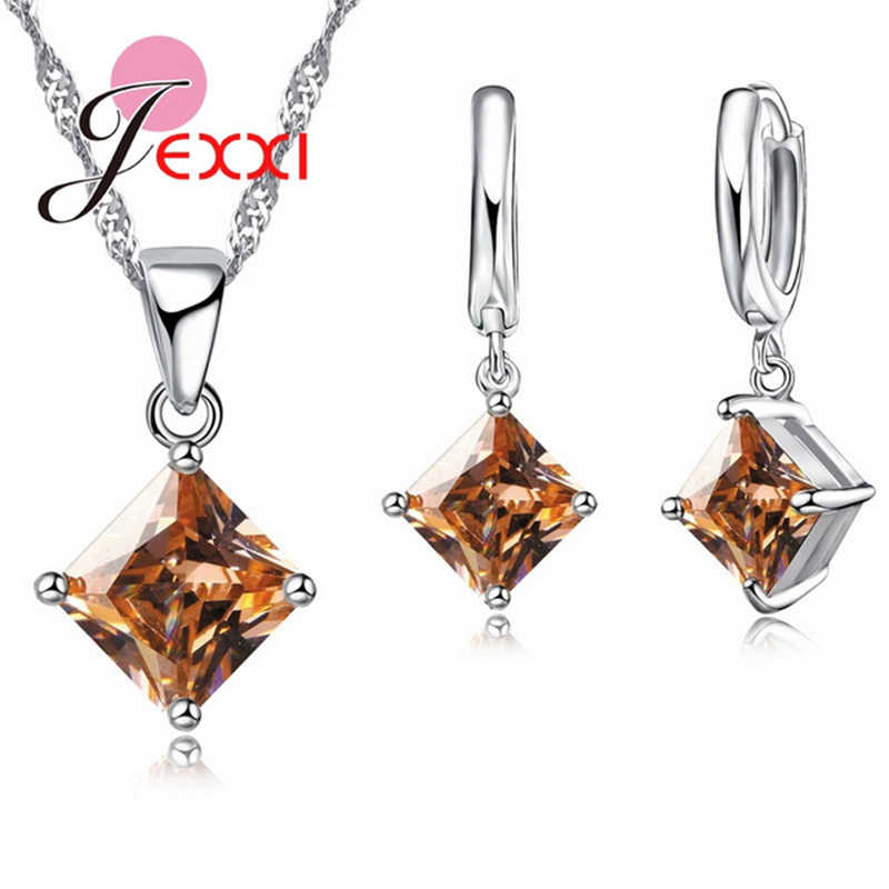 925 Sterling Silver Square Sparkling Crystals Women Wedding Beautiful Necklace Pendant Earrings Jewelry Set Lover Gifts