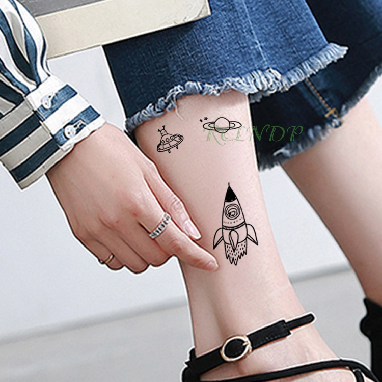 Waterproof Temporary Tattoo Sticker Rocket Hand Planet Flash Tatoo Fake Tatto Body Tattoos Tatouage Wrist Foot For Men Women
