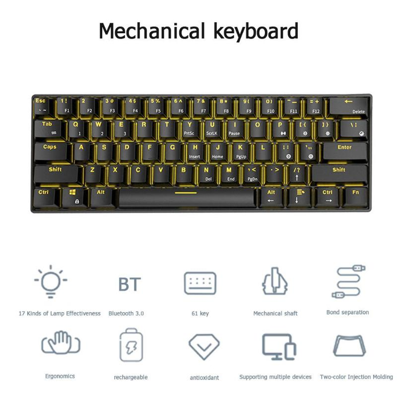 Image 5 - VODOOL RK61 Wireless Bluetooth Mechanical Gaming Keyboard Backlight Gaming Keyboard Ergonomics Office Computer Components newst-in Keyboards from Computer & Office