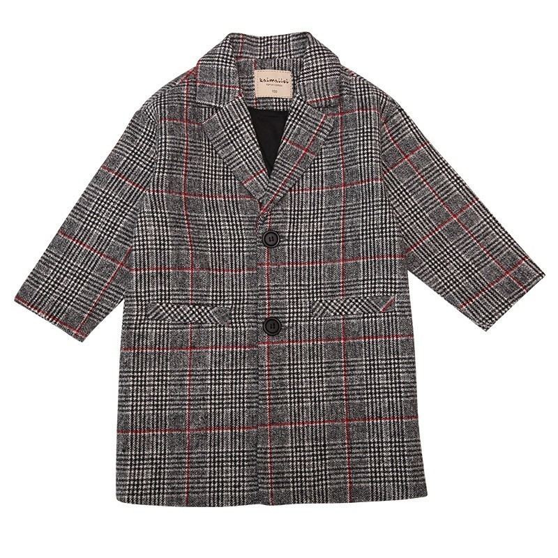 цены Boutique Outfits Kids Clothes Fall Winter Boy Wool Coat Fashion Long Sleeve TurnDown Collar Cloak Two Color Plaid Jacket On Sale