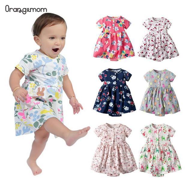 Oramgemom official store 2020 letnia krótka sukienka dla dzieci dla dziewczynek odzież dla niemowląt sukienka dla niemowląt kwiat newborn-24M kostium dziewczęcy