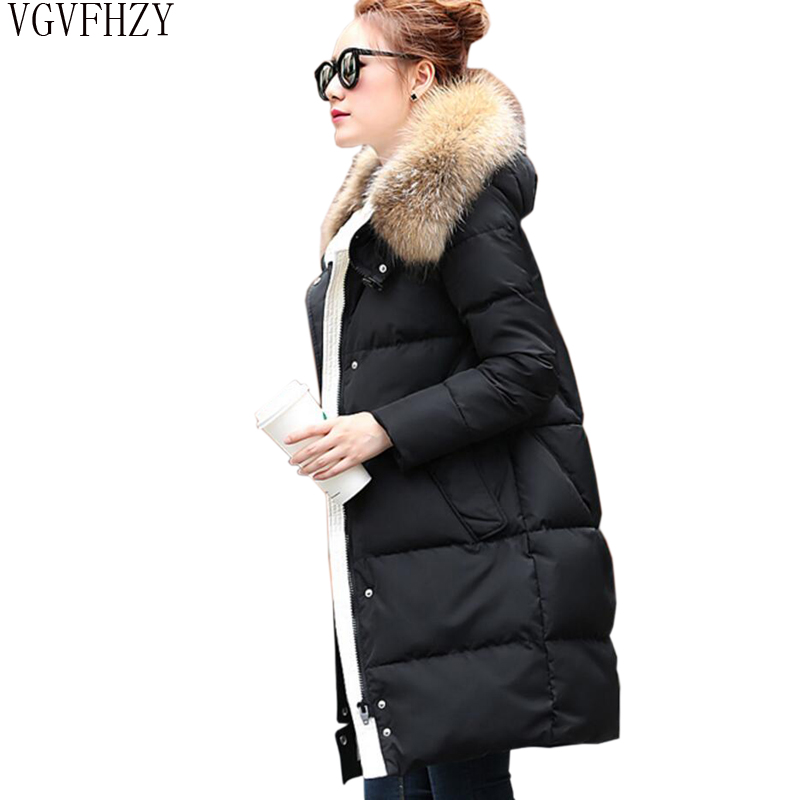 Winter Women Jacket   Coat   2018 Long Hooded Parkas Thick warm   Down   Jacket Raccoon Fur Collar Duck   Down     Coat   Female Snow Outerwear