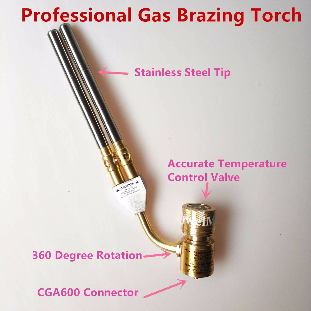 Mapp Gas Welding Torch Brazing Gun Super 2 Pipes Propane Gas Welding Plumbing Jewelry CGA600 Connection Burner Heater Blowtorch