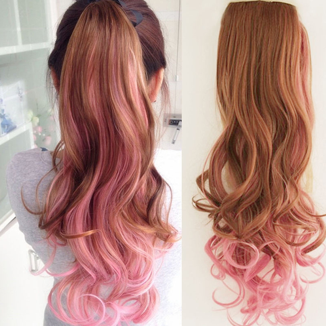 Woman Gradual Change Pink Brown Color Highlights Bandage Type Wig