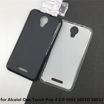 Soft Silicone Phone Cases for Alcatel One Touch Pop 4 5.0 5051 5051D 5051J Original TPU Back Cover Pudding Case Capa