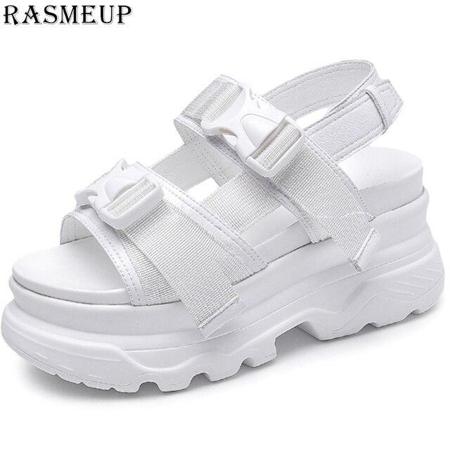 RASMEUP/женские босоножки на платформе; коллекция 2019 года; модные летние женские пляжные сандалии с пряжкой на толстой подошве; повседневная же...