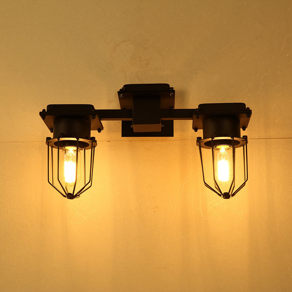Double Bulbs Lighting Diamond Shape Iron Cage Wall Lamp Home light Bedroom Bedside Lamps Wall Lights Sconces E27 Fixtures modern lamp trophy wall lamp wall lamp bed lighting bedside wall lamp