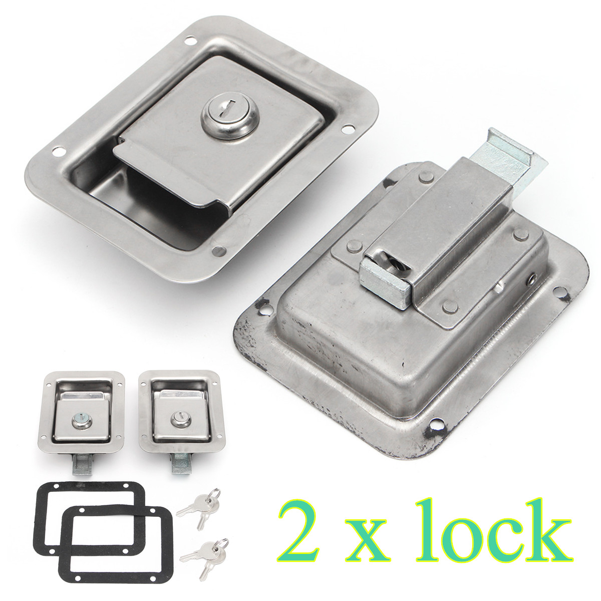 Stainless Steel Paddle Door Lock Latch Handle Truck Tool Box Trailer With Key 2Pcs/set